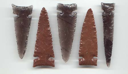 Set of 5 Desert Side Notch Arrowheads -- 2004, 2005 A.D.