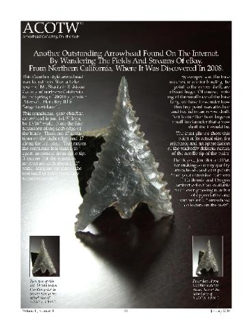 ACOTW--Vol2-Num1--January 2010--Arrowhead Collecting On The Web -- obsidian Shasta Gunther from northern California, ex Jennifer Peterson