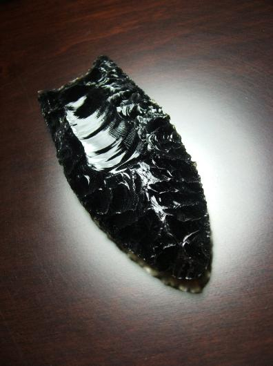 Obsidian Clovis point -- 2015 A.D. -- F. Scott Crawford