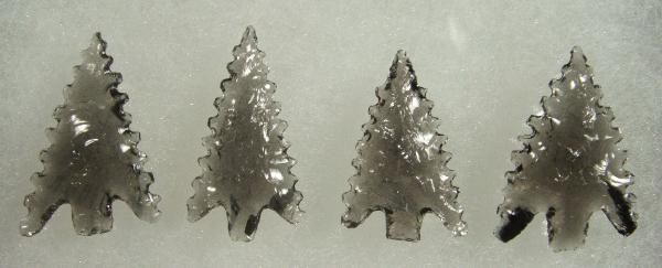 Set of 4 Gunther style arrowheads--Midnight Lace Obsidian--2009 A.D.